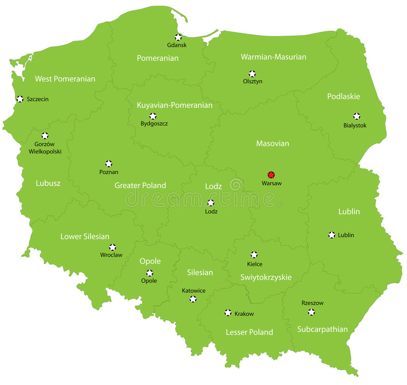 Poland. Map designed in illustration with the 16 provinces colored in green colors and with the main cities. Neighbouring countries are in an additional format stock illustration