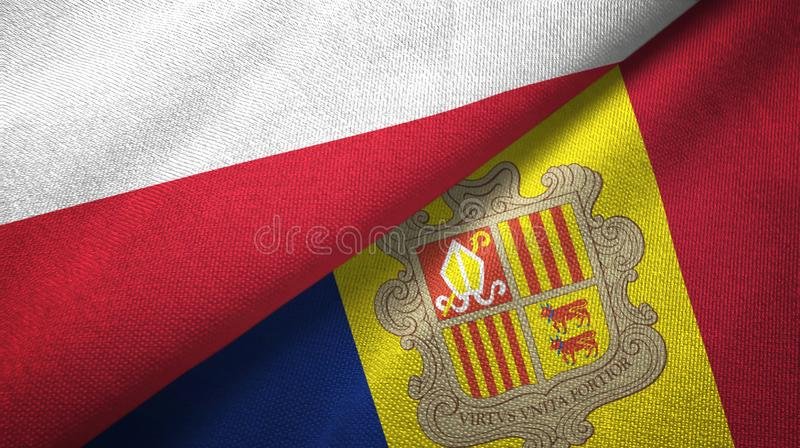 Poland and Andorra two flags textile cloth, fabric texture. Poland and Andorra two folded flags together vector illustration