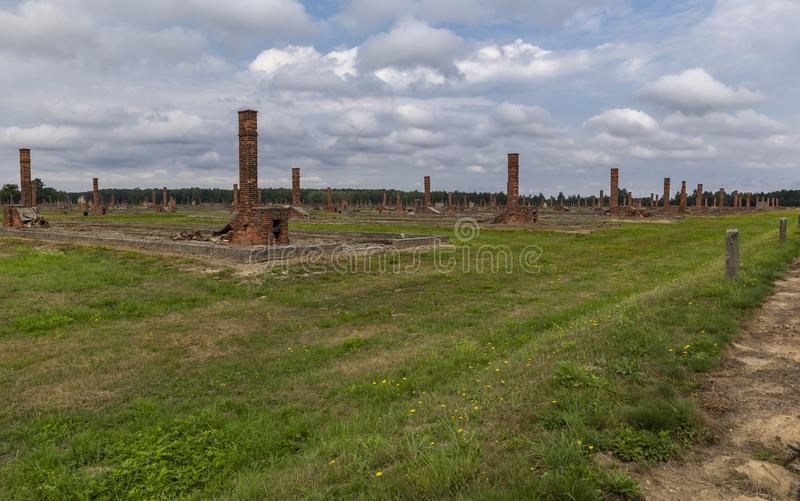 Stoves and barracks in the Auschwitz-Birkenau concentration camp. POLAND - AUGUST 2019: Stoves and barracks in the Auschwitz-Birkenau concentration camp royalty free stock photo