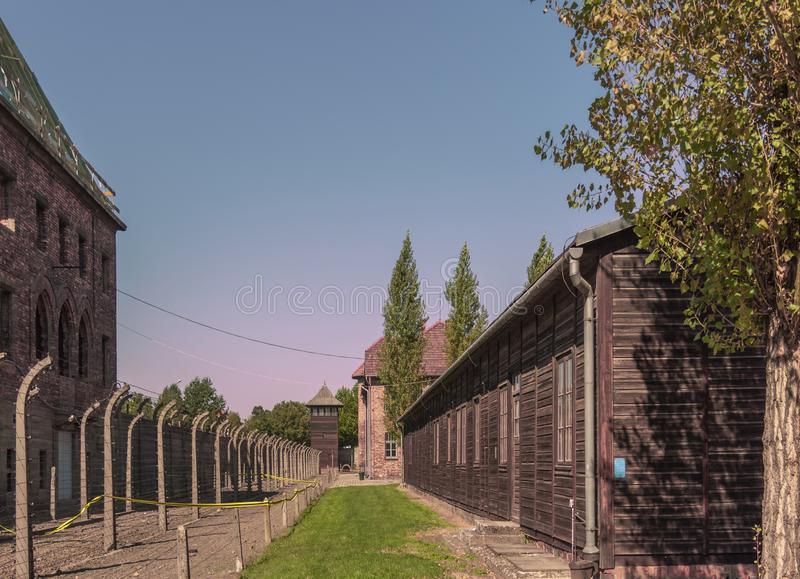 Poland Auschwitz-Birkenau 19-September 2018 View of the barracks and electrical secretaries of nazi concentration camp auschwitz stock images