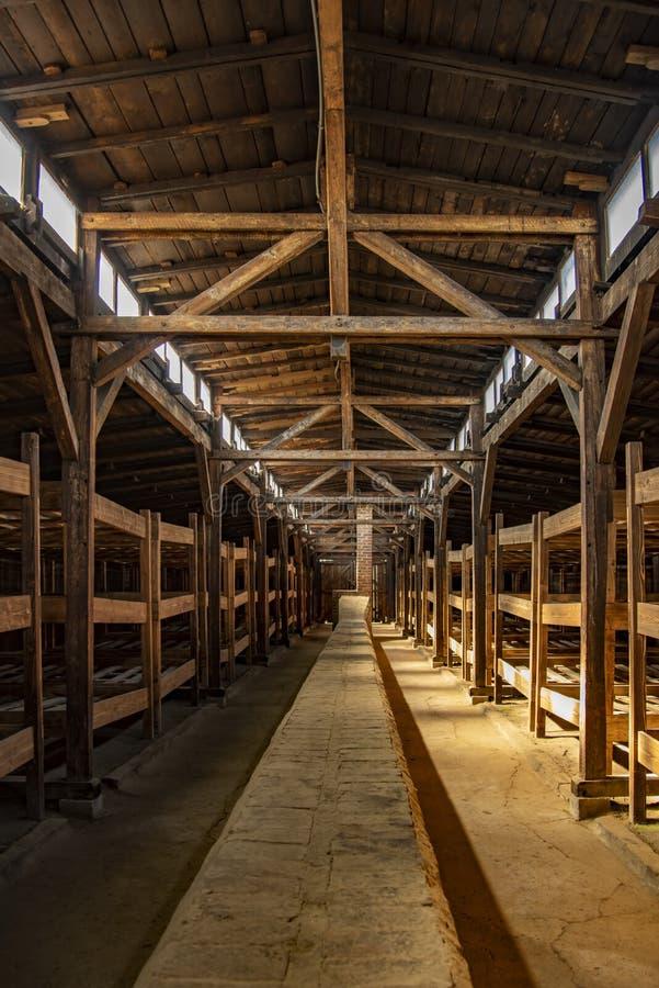 Poland Auschwitz-Birkenau 19-September 2018 View of the interior of a barrack of Nazi camp Birkenau stock photo