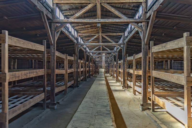 Poland Auschwitz-Birkenau 19-September 2018 View of the interior of a barrack of Nazi camp Birkenau stock image