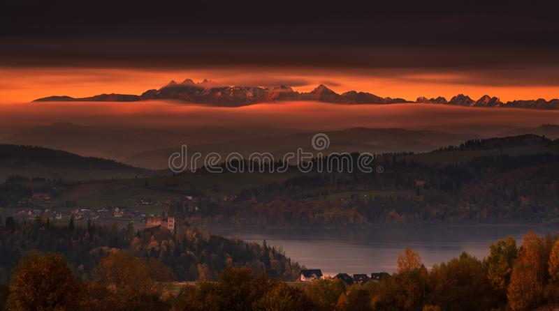 Poland, Autumn Morning. Epic Sunrise Over Tatry Mountains: View. At The Top Of High Tatras , Czorsztyn Lake And Ruins Of The Castle. Fantastical View From High stock images