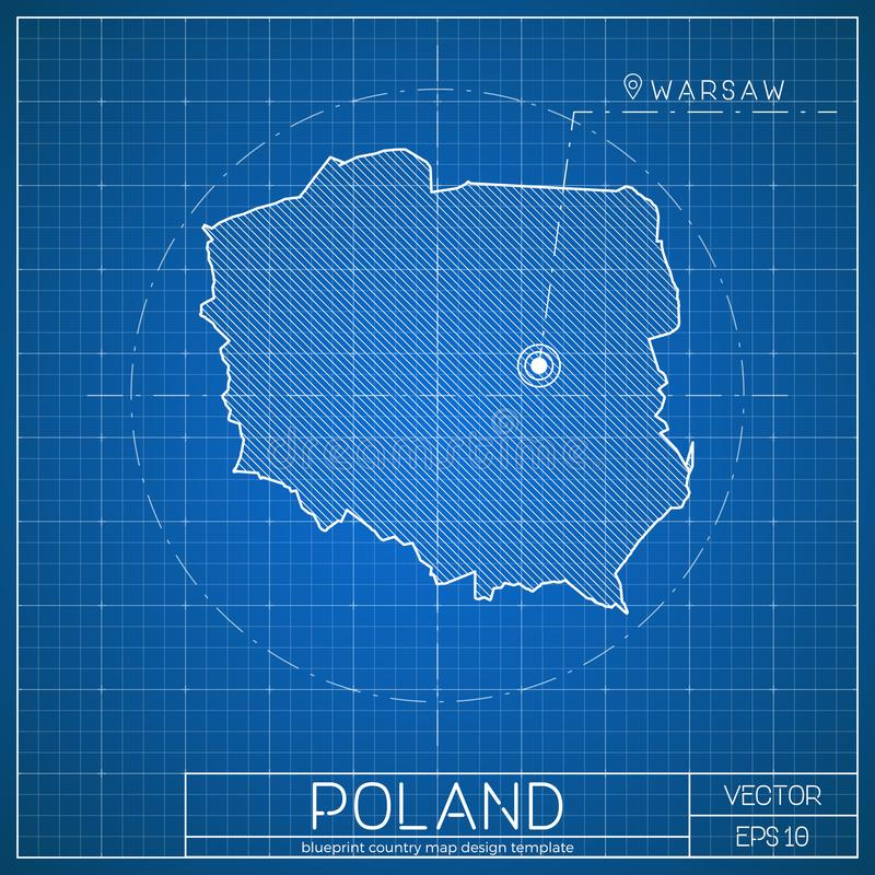 Poland blueprint map template with capital city. stock illustration