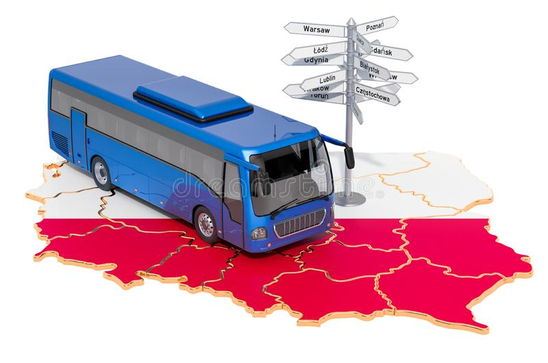 Poland Bus Tours concept. 3D rendering. Isolated on white background stock illustration