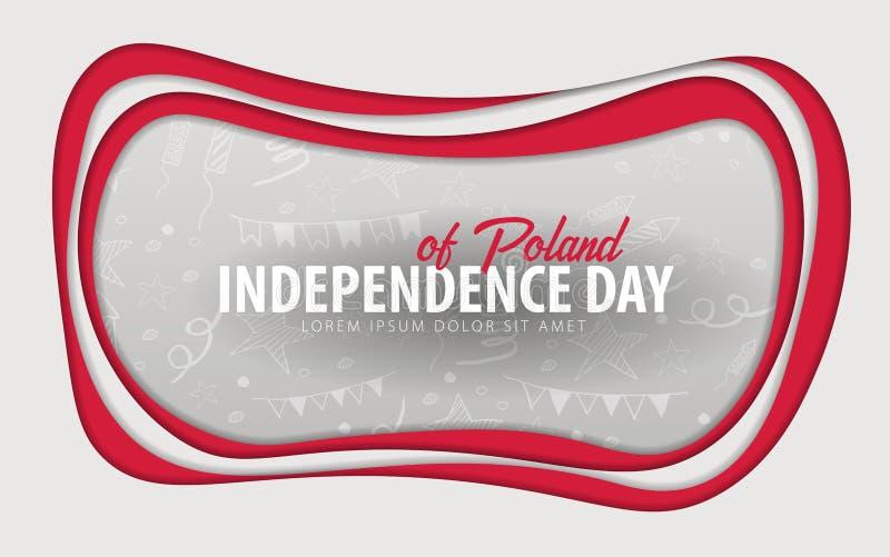 poland Cartolina d'auguri di festa dell'indipendenza stile del taglio della carta illustrazione vettoriale