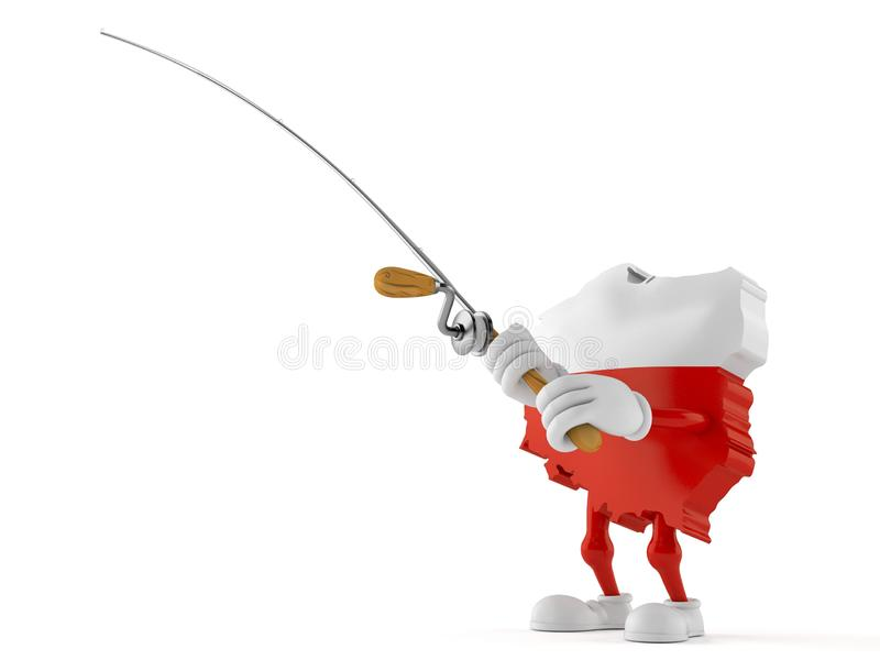 Poland character with fishing rod vector illustration