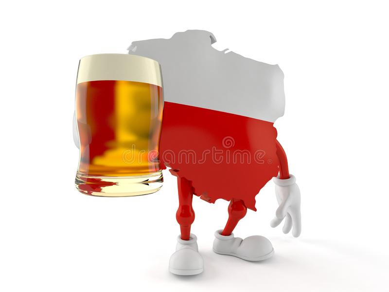 Poland character holding beer glass stock illustration