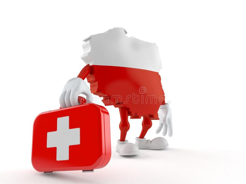 Poland character holding first aid kit stock illustration