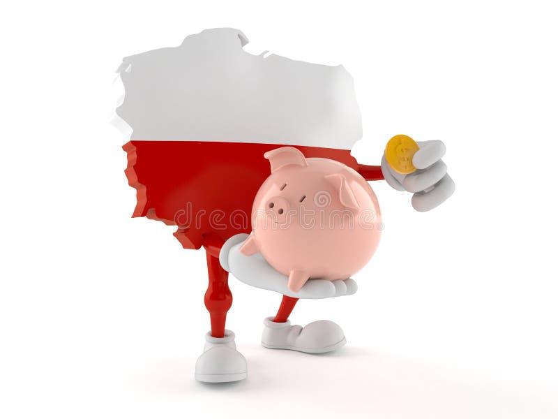 Poland character holding piggy bank vector illustration