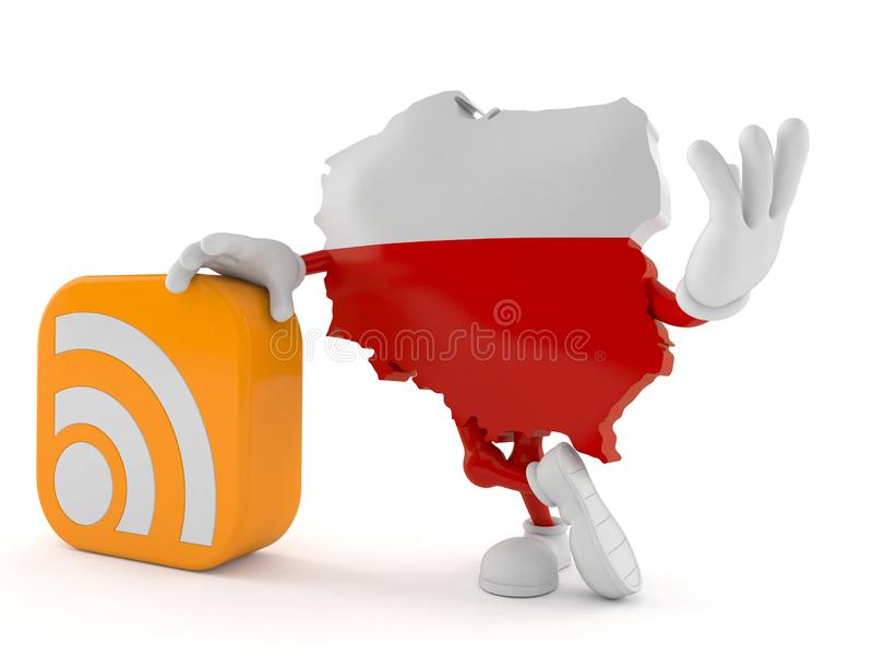 Poland character with RSS icon. Isolated on white background. 3d illustration royalty free illustration
