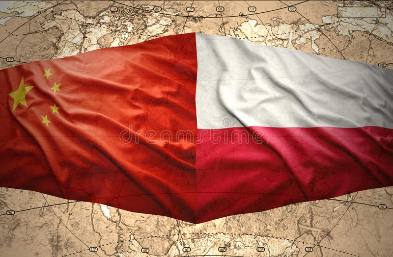 Poland and China. Waving Polish and Chinese flags of the political map stock illustration