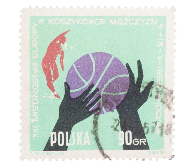 POLAND, CIRCA 1963:Post stamp printed in showing ball, ha. POLAND, CIRCA 1963:Post stamp printed in Poland showing ball, hands and players at 13th European men royalty free illustration