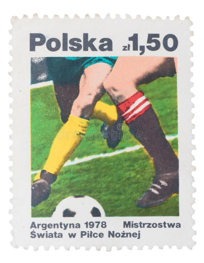 POLAND - CIRCA 1978: A postage stamp printed in the shows. POLAND - CIRCA 1978: A postage stamp printed in the Poland shows image the history of world football royalty free stock images