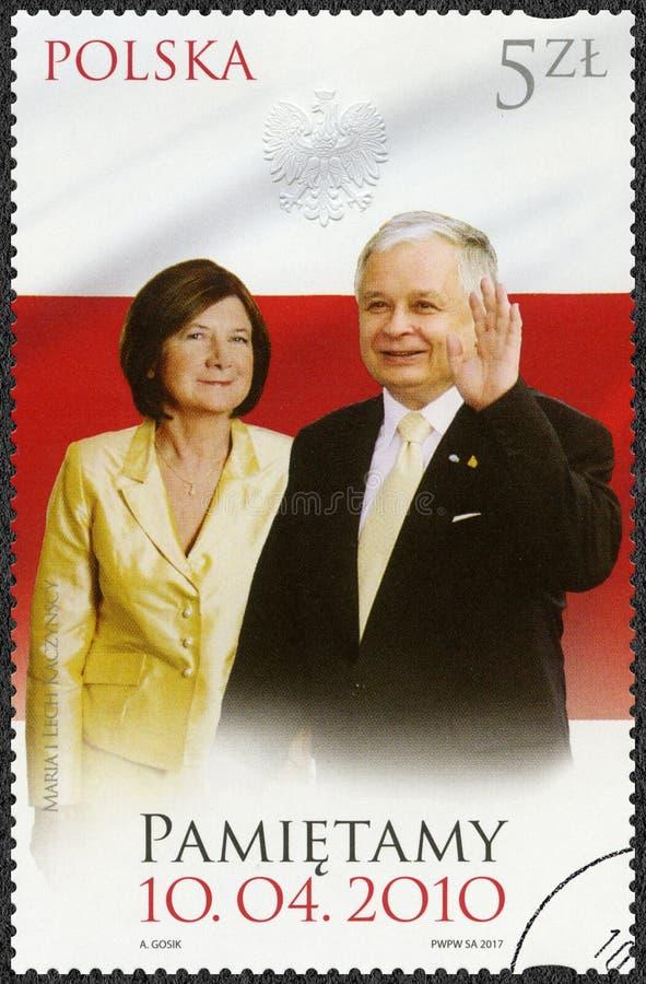 POLAND - 2017: shows Lech Kaczynski 1949-2010 Polish president, and wife Maria Kaczynski 1942-2010. POLAND - CIRCA 2017: A stamp printed in Poland shows Lech royalty free stock images