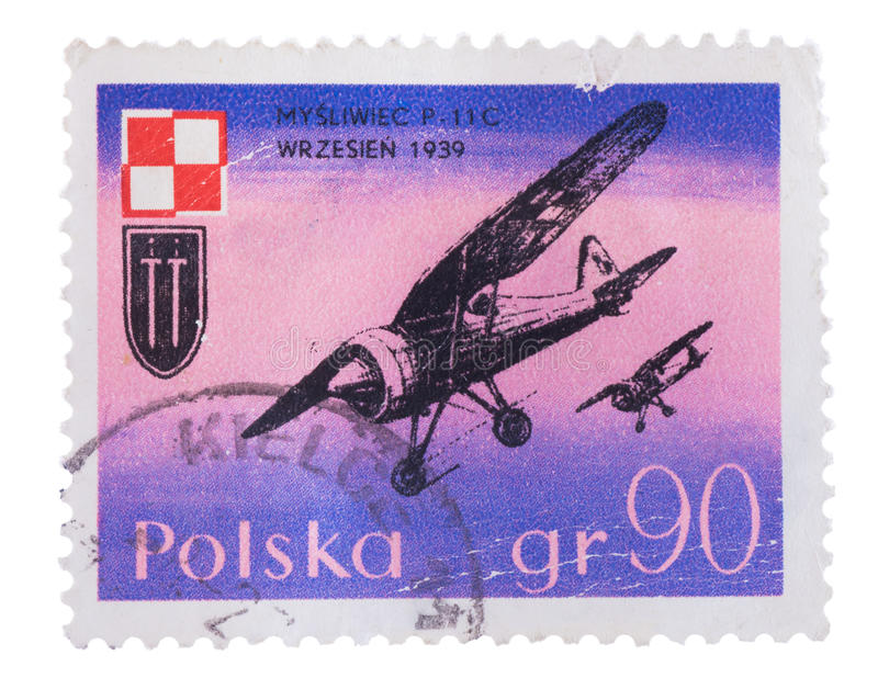 POLAND - CIRCA 1971: A stamp printed in shows the Airplan. POLAND - CIRCA 1971: A stamp printed in POLAND shows the Airplane with the inscription Fighter P-11c royalty free illustration