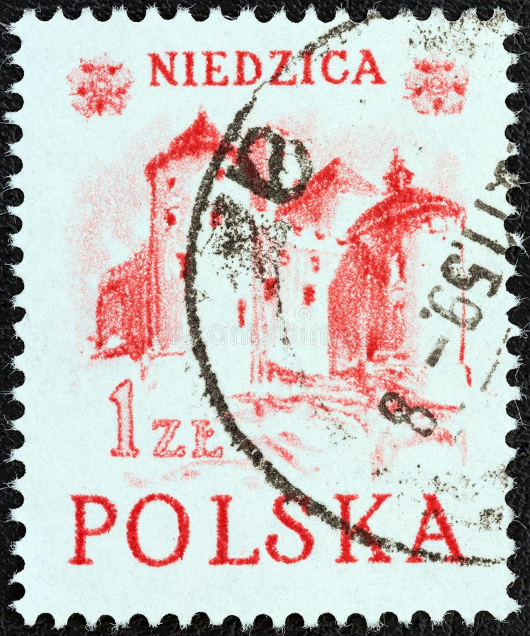 POLAND - CIRCA 1952: A stamp printed in Poland shows Niedzica castle, circa 1952. POLAND - CIRCA 1952: A stamp printed in Poland from the `Pleniny Mountain stock photo
