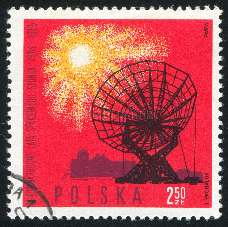 Radio telescope. POLAND - CIRCA 1965: stamp printed by Poland, shows Radio telescope dish, Torun, circa 1965 stock images