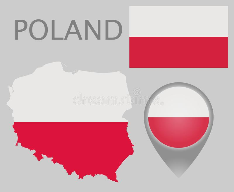 Poland flag, map and map pointer royalty free illustration