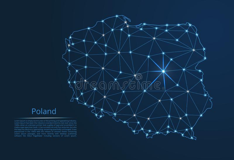 Poland communication network map. Vector low poly image of a global map with lights vector illustration