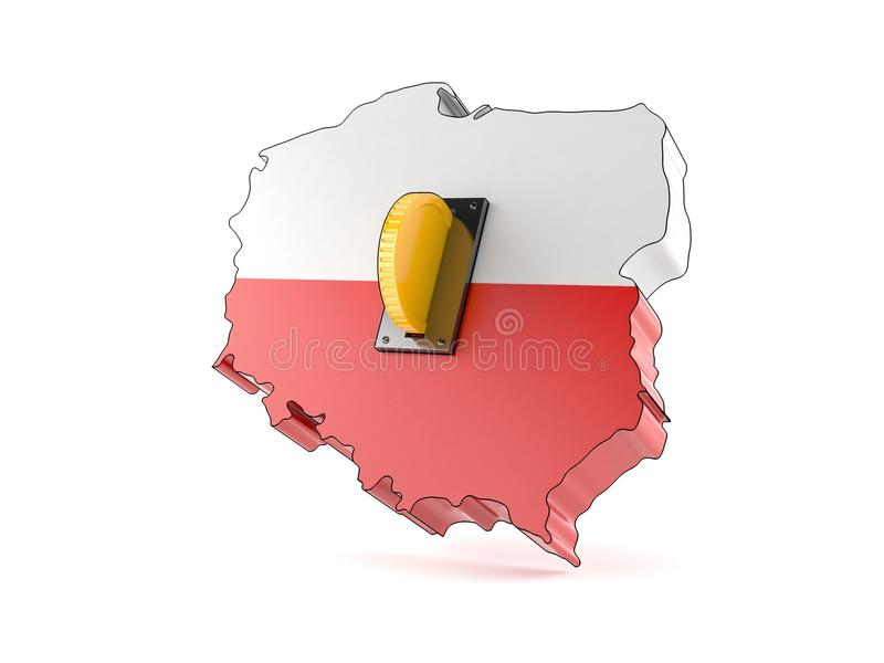 Poland country with coin royalty free illustration