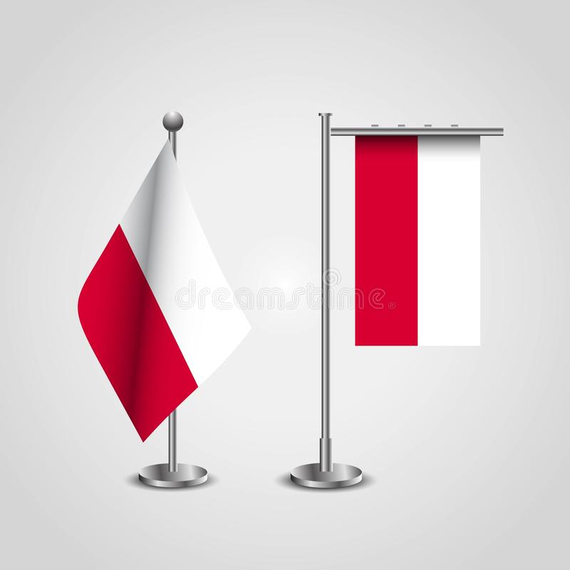 Poland Country Flag on Pole. Vector EPS10 Abstract Template background royalty free illustration