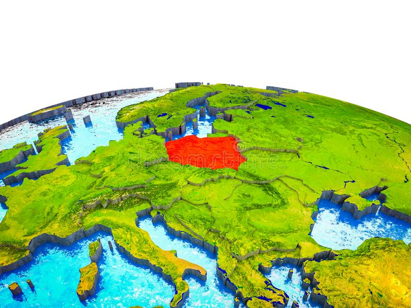 Poland on 3D Earth stock illustration