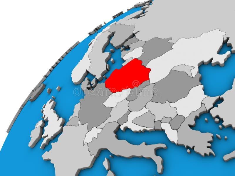 Poland on 3D globe royalty free illustration