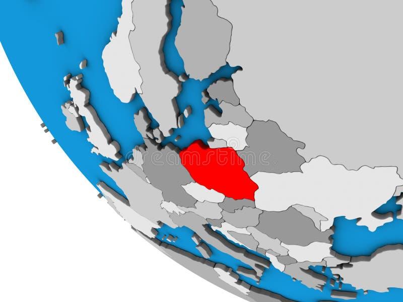 Poland on 3D globe vector illustration