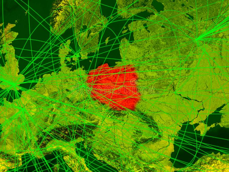 Poland on digital map. With networks. Concept of international travel, communication and technology. 3D illustration. Elements of this image furnished by NASA stock illustration