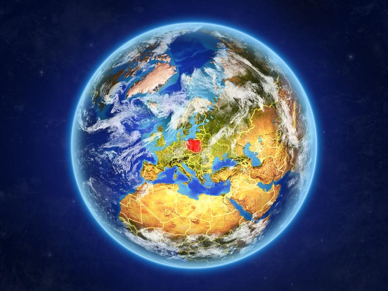 Poland on Earth from space. Poland from space. Planet Earth with country borders and extremely high detail of planet surface and clouds. 3D illustration stock illustration