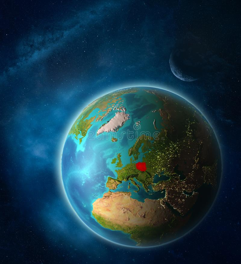 Poland on Earth from space vector illustration