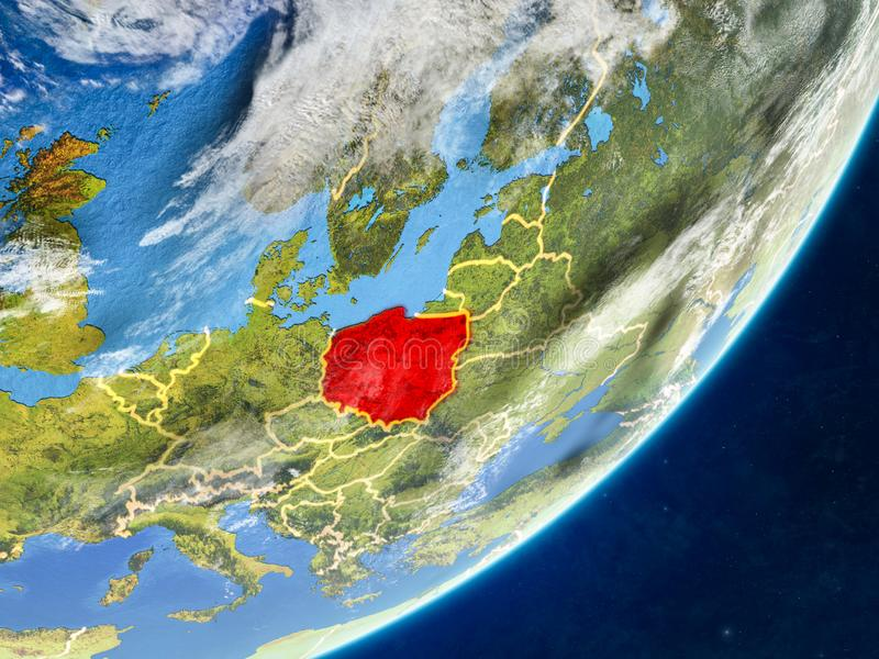 Poland on Earth from space. Poland on model of planet Earth with country borders and very detailed planet surface and clouds. 3D illustration. Elements of this vector illustration