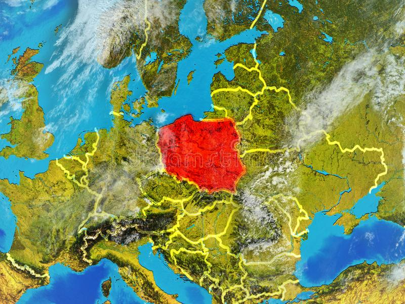 Poland on Earth from space. Poland from space on model of planet Earth with country borders. Extremely fine detail of planet surface and clouds. 3D illustration stock illustration