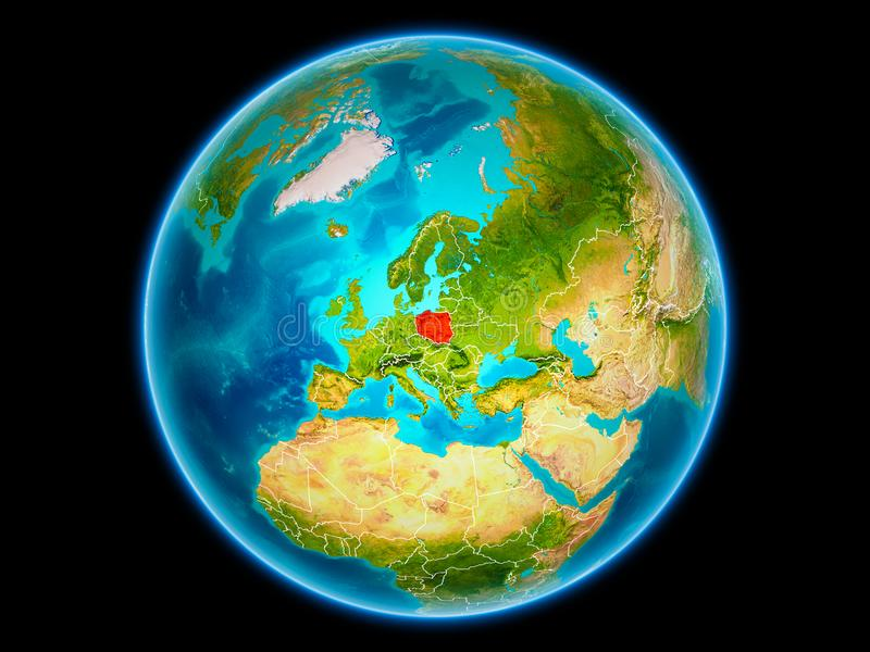 Poland on Earth from space stock illustration
