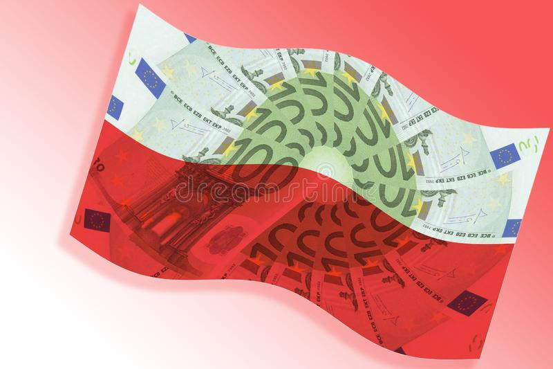 Poland and EU financial cooperation concept. Polish flag overlaid with euro banknote pattern waves on red and white national royalty free illustration