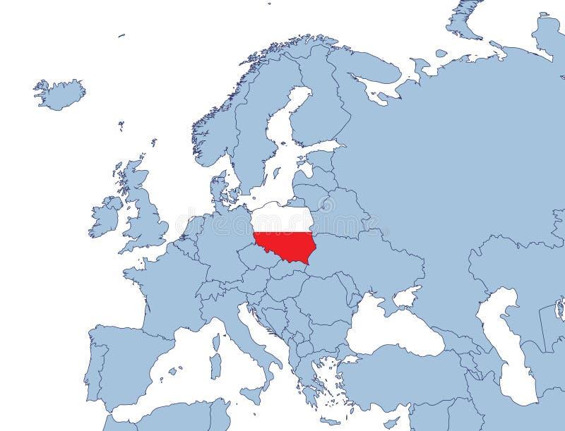 Poland on Europe map stock image