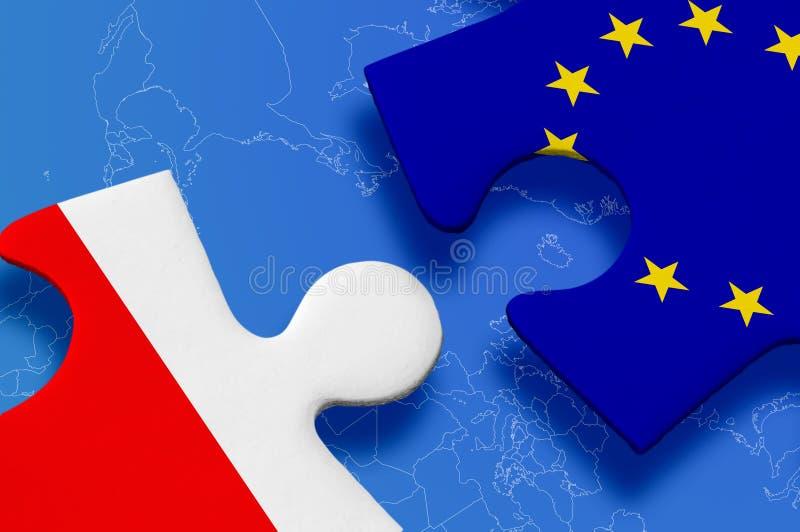 Poland European Union Puzzle. Poland and European Union in puzzle on blue background royalty free stock photos