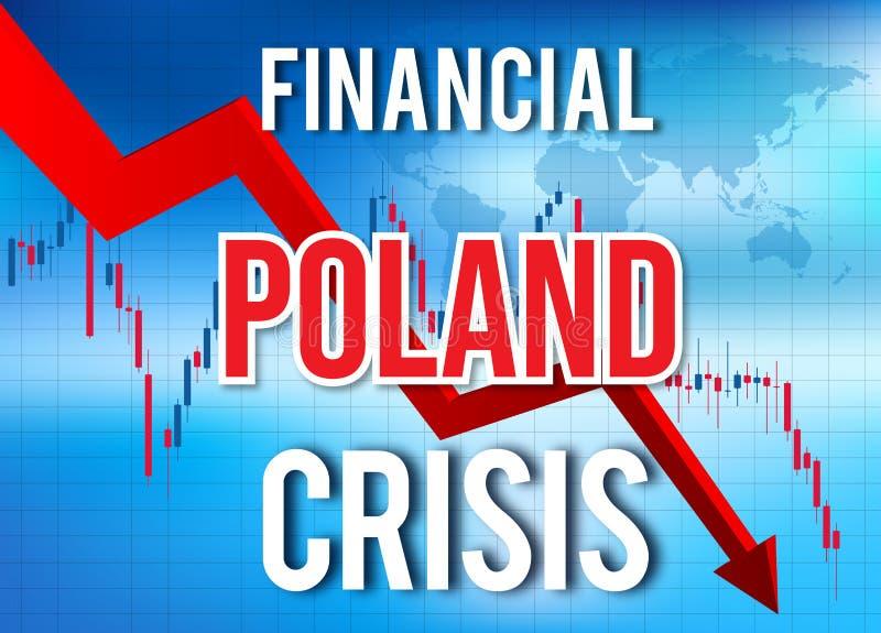 Poland Financial Crisis Economic Collapse Market Crash Global Meltdown. Illustration royalty free illustration