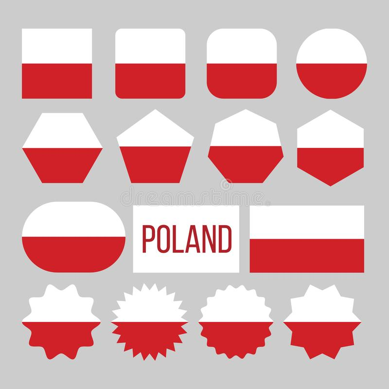 Poland Flag Collection Figure Icons Set Vector. Two Horizontal Stripes Of Equal Width, Upper One White And Lower Red On National Symbol Of Poland. Europe royalty free illustration