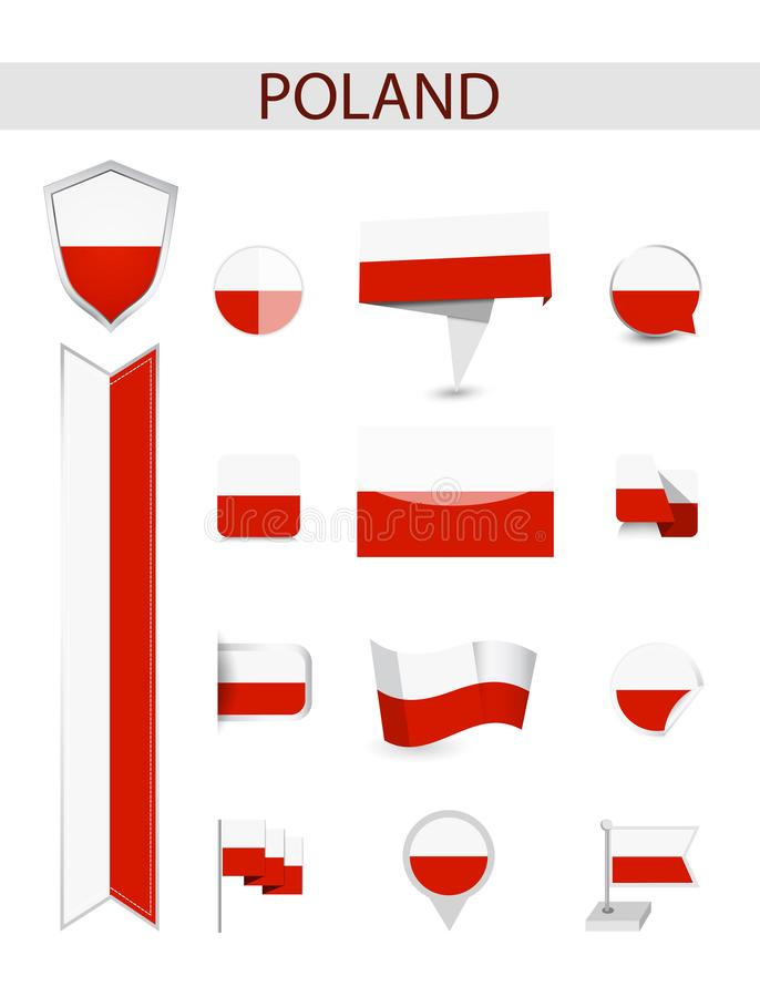 Poland Flag Collection royalty free illustration