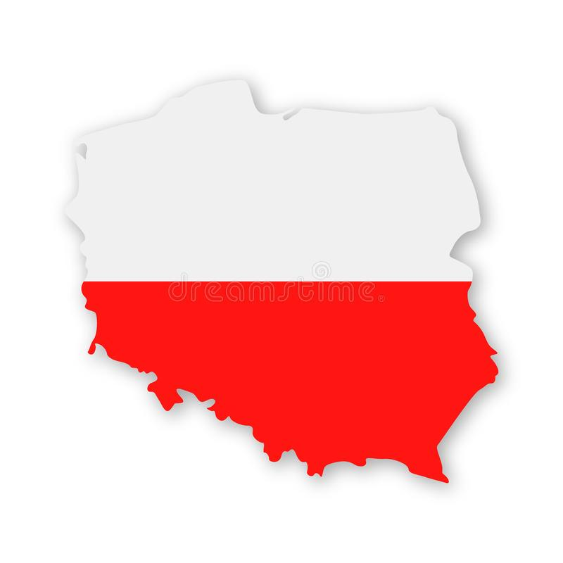Poland Flag Country Contour Vector Icon royalty free illustration