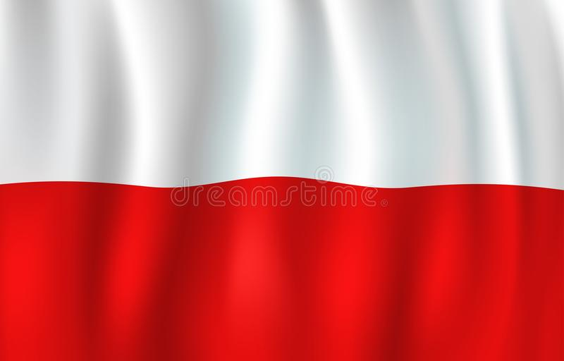 Vector 3D flag of Poland. Polish national symbol royalty free illustration