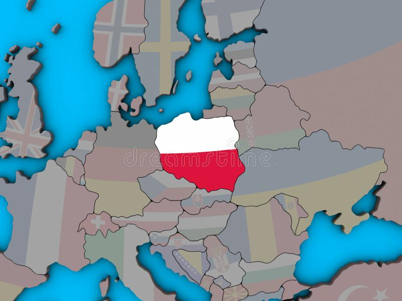 Poland with flag on 3D map vector illustration