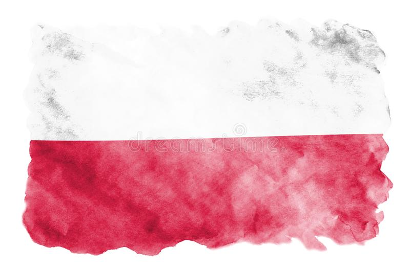 Poland flag is depicted in liquid watercolor style isolated on white background. Careless paint shading with image of national flag. Independence Day banner royalty free illustration