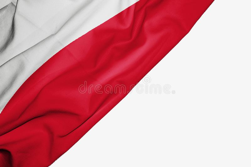 Poland flag of fabric with copyspace for your text on white background. Banner best capital colorful competition country ensign euro europe european free royalty free illustration
