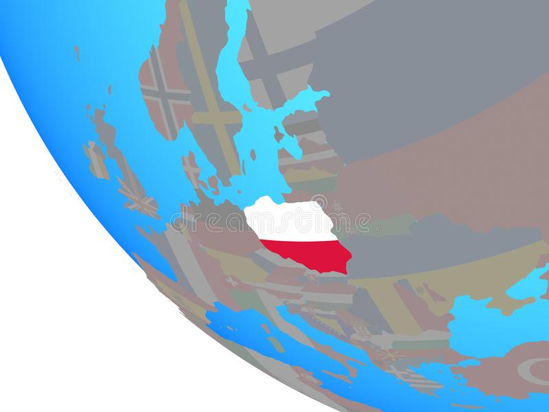 Poland with flag on globe royalty free illustration