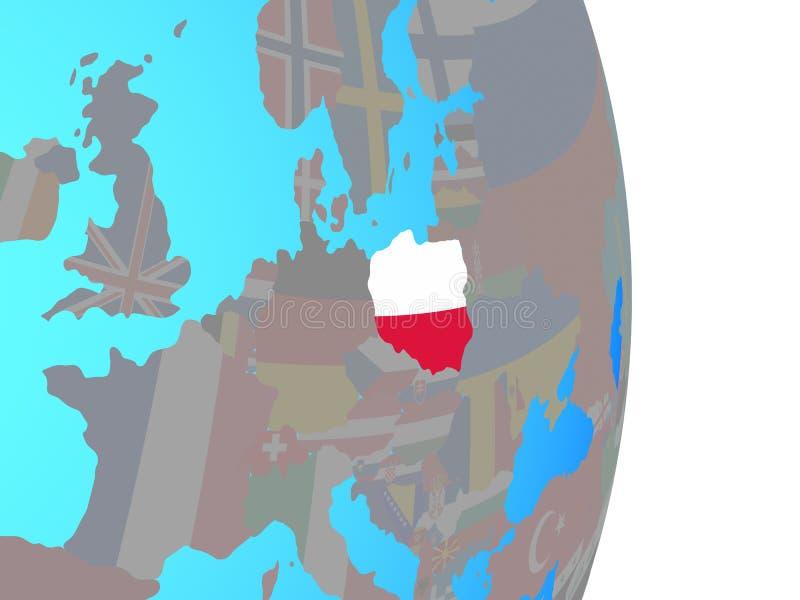 Poland with flag on globe. Poland with national flag on simple political globe. 3D illustration stock illustration