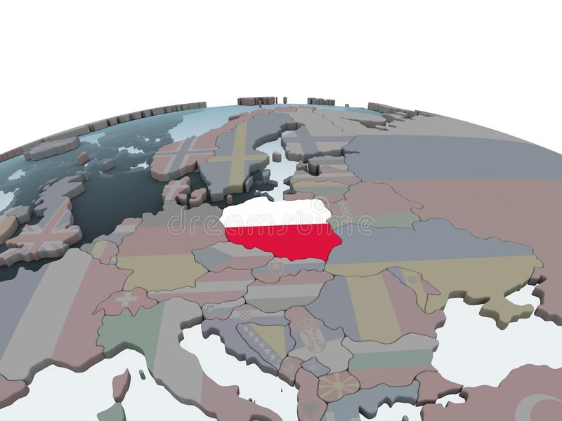 Poland with flag on globe stock illustration