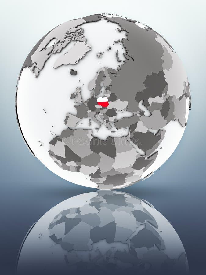 Poland on globe vector illustration
